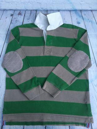 Mini Boden green and grey striped rugby top age 9-10